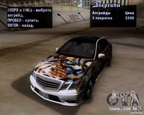 Mercedes-Benz E63 AMG V12 TT Black Revel para GTA San Andreas vista superior