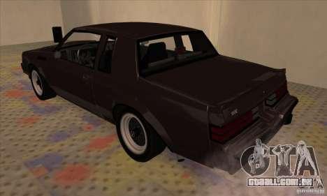 Buick Regal GNX 1987 para GTA San Andreas vista direita