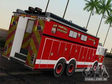 Pierce Walk-in SFFD Heavy Rescue para GTA San Andreas traseira esquerda vista