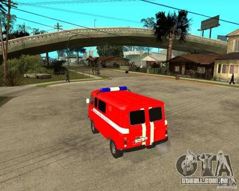 Brigada de incêndio UAZ para GTA San Andreas traseira esquerda vista