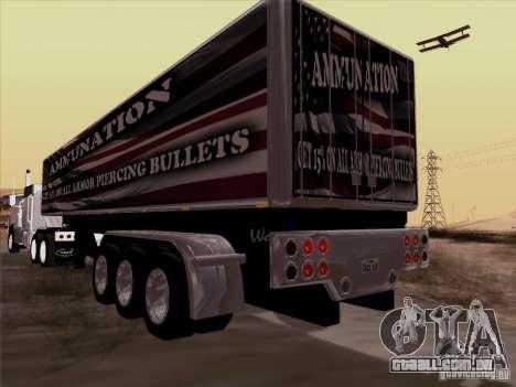 Reboque, Peterbilt 377 para GTA San Andreas traseira esquerda vista