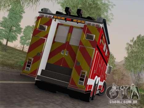 Pierce Walk-in SFFD Heavy Rescue para GTA San Andreas interior