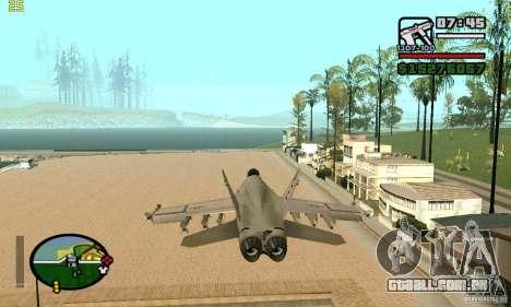F-18 Super Hornet para GTA San Andreas traseira esquerda vista