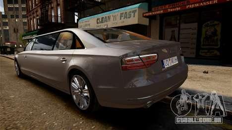 Audi A8 limousine para GTA 4 vista direita