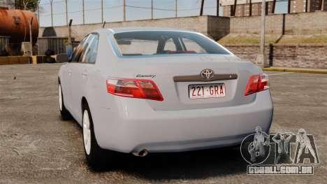 Toyota Camry Altise 2009 para GTA 4 traseira esquerda vista