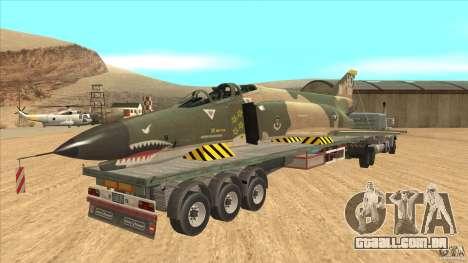 Flatbed trailer with dismantled F-4E Phantom para GTA San Andreas vista direita