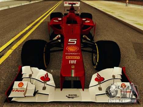 Ferrari F2012 para GTA San Andreas vista interior