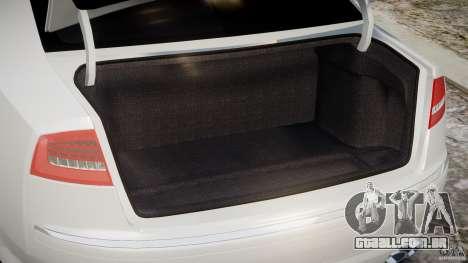 Audi S8 D3 2009 para GTA 4 vista de volta