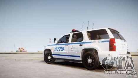 Chevrolet Tahoe 2012 NYPD para GTA 4 esquerda vista