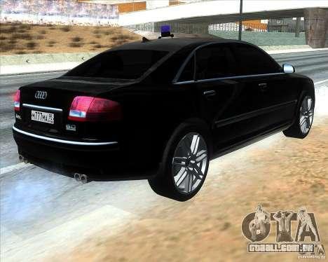 Audi A8L W12 para GTA San Andreas traseira esquerda vista
