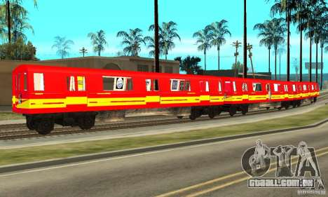 Liberty City Train Red Metro para GTA San Andreas esquerda vista