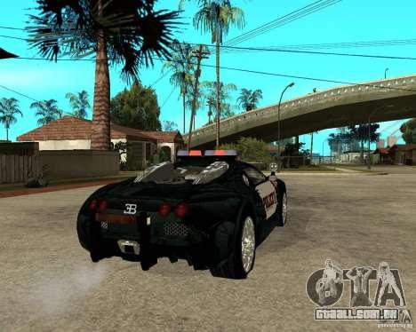 Bugatti Veyron polícia San Fiero para GTA San Andreas traseira esquerda vista