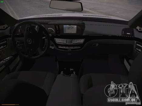 Mercedes Benz S65 AMG 2012 para GTA San Andreas vista interior
