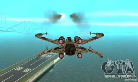 X-WING de Star Wars v1 para GTA San Andreas traseira esquerda vista