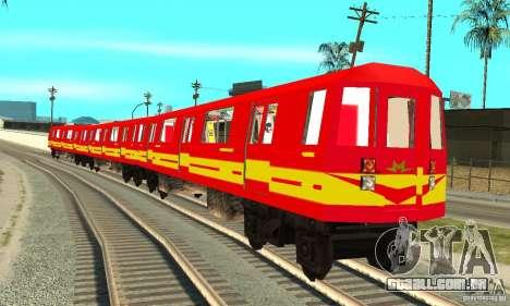 Liberty City Train Red Metro para GTA San Andreas traseira esquerda vista