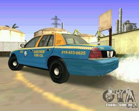 Ford Crown Victoria 2003 Taxi Cab para GTA San Andreas traseira esquerda vista