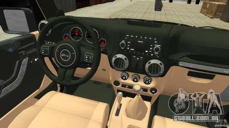 Jeep Wrangler Rubicon 2012 para GTA 4 vista de volta