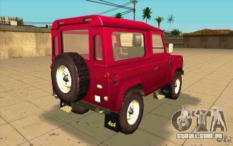 Land Rover Defender 90SW para GTA San Andreas traseira esquerda vista