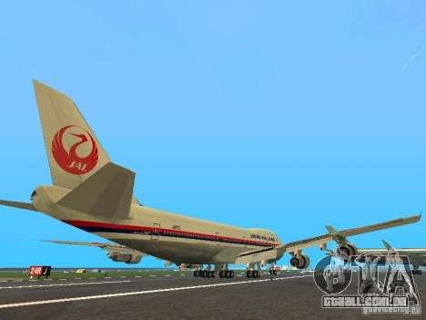 Boeing 747-100 Japan Airlines para GTA San Andreas vista direita