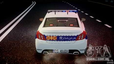 Peugeot 508 Macedonian Police [ELS] para GTA 4 motor