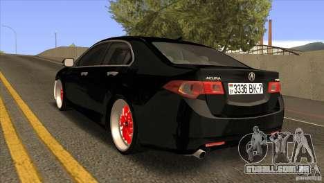 Acura TSX Doxy para GTA San Andreas traseira esquerda vista