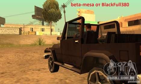 Mesa From Beta Version para GTA San Andreas esquerda vista