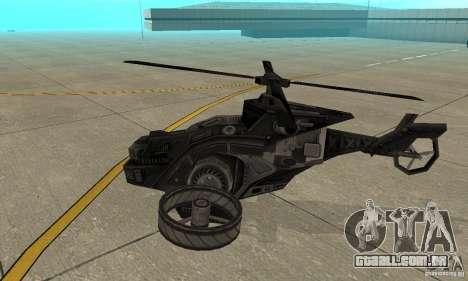 Um helicóptero do jogo TimeShift Black para GTA San Andreas traseira esquerda vista