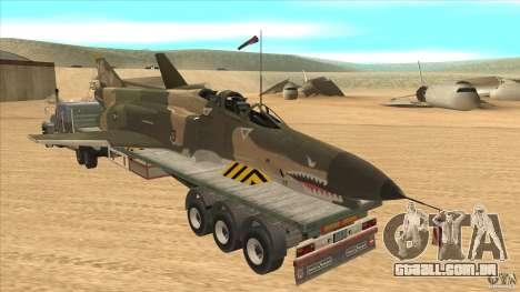 Flatbed trailer with dismantled F-4E Phantom para GTA San Andreas traseira esquerda vista