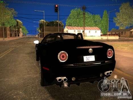 Alfa Romeo 8C Spider 2012 para GTA San Andreas traseira esquerda vista
