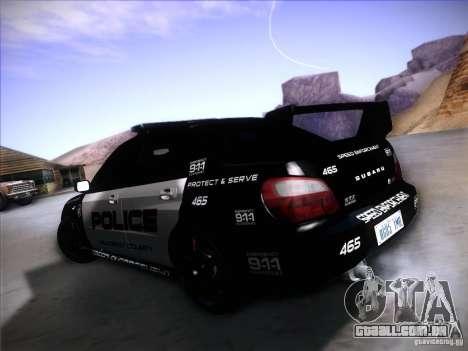 Subaru Impreza WRX STI Police Speed Enforcement para GTA San Andreas esquerda vista