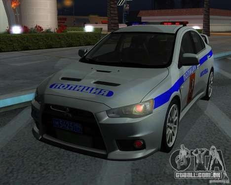 Mitsubishi Lancer Evolution X PPP polícia para GTA San Andreas vista interior