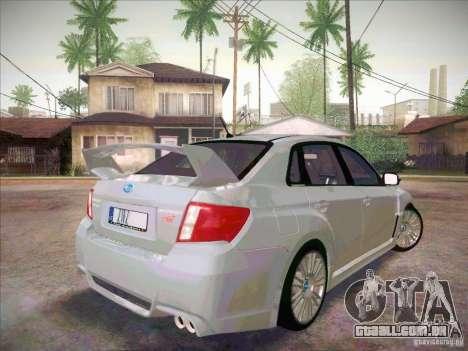 Subaru Impreza WRX STI 2011 Sedan para GTA San Andreas traseira esquerda vista