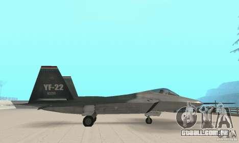 Y-f22 Lightning para GTA San Andreas traseira esquerda vista