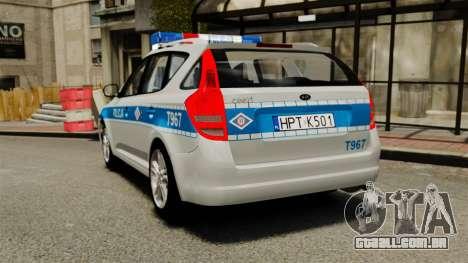 Kia Ceed 2011 SW Polish Police ELS para GTA 4 traseira esquerda vista