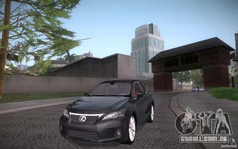 Lexus CT200H 2011 para GTA San Andreas vista traseira