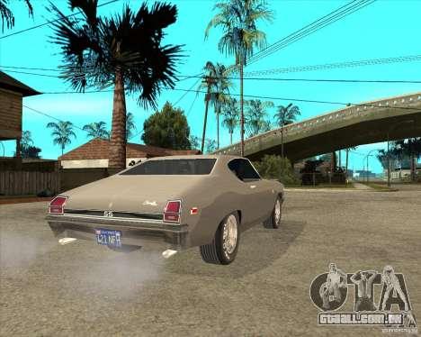 1969 Chevrolet Chevelle para GTA San Andreas traseira esquerda vista