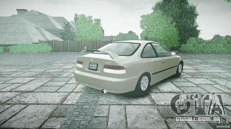 Honda Civic Coupe para GTA 4 traseira esquerda vista