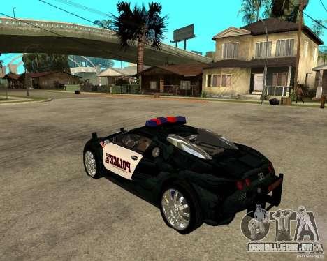 Bugatti Veyron polícia San Fiero para GTA San Andreas esquerda vista