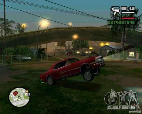 Capacidade de levantar o carro para o buck para GTA San Andreas por diante tela