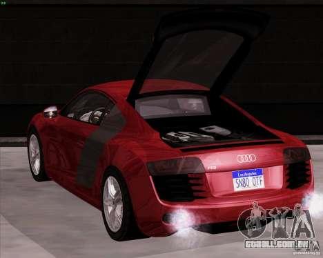 Audi R8 Production para GTA San Andreas traseira esquerda vista