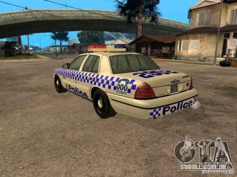 Ford Crown Victoria NSW Police para GTA San Andreas esquerda vista