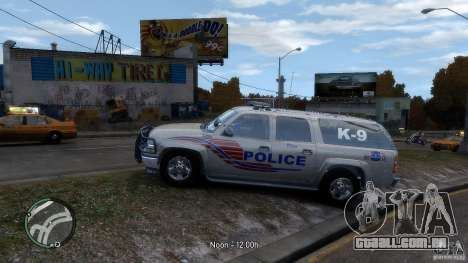 Chevrolet Suburban 2006 Police K9 UNIT para GTA 4 esquerda vista