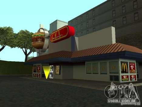 Mc Donalds para GTA San Andreas por diante tela