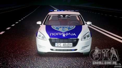 Peugeot 508 Macedonian Police [ELS] para GTA 4 vista superior