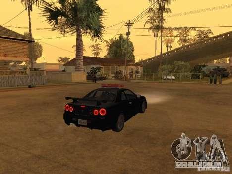 Nissan Skyline R34 Police para GTA San Andreas traseira esquerda vista
