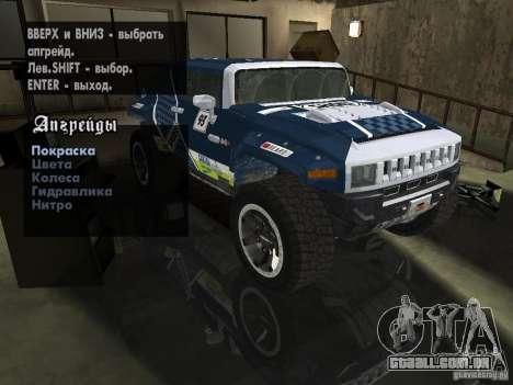 Hummer HX Concept from DiRT 2 para GTA San Andreas vista interior