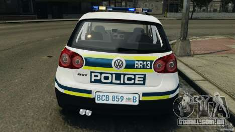Volkswagen Golf 5 GTI South African Police [ELS] para GTA 4 interior