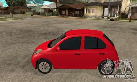 Nissan Micra para GTA San Andreas esquerda vista