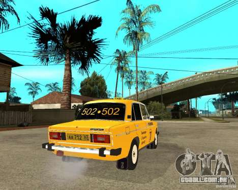 Táxi de 2106 VAZ para GTA San Andreas traseira esquerda vista