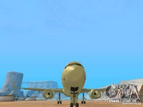 Boeing 737-800 Lufthansa para GTA San Andreas vista traseira